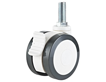 Twin Wheel Medical Caster Polyurethane tread Swivel